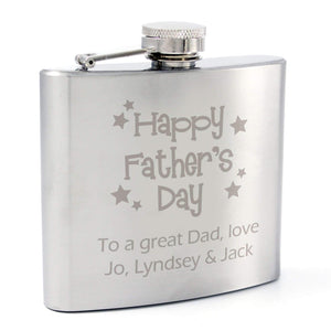 Personalised Stainless Steel Happy Fathers Day Stars Hip Flask