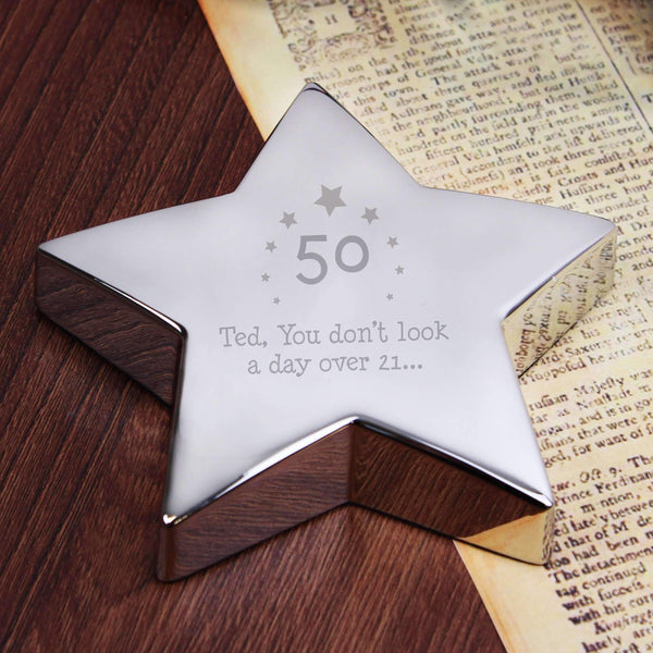 Personalised Stars Age Star Paperweight