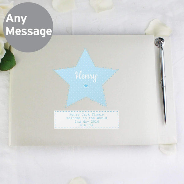 Personalised Stitch & Dot Baby Boy Guest Book & Pen