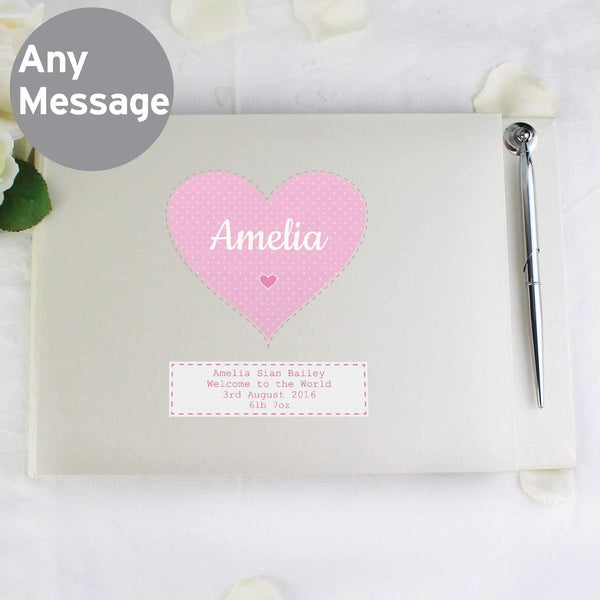 Personalised Stitch & Dot Baby Girl Guest Book & Pen