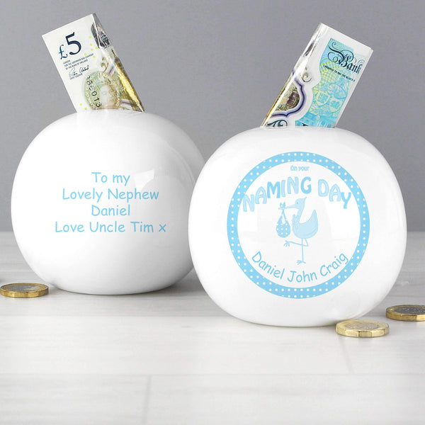 Personalised Stork Blue Naming Money Box