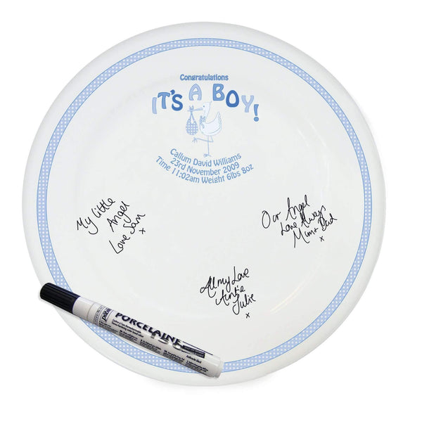 Personalised Stork It's a Boy Message Plate