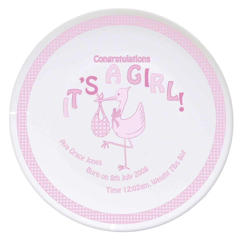 Personalised Stork It's a Girl Plate Memento