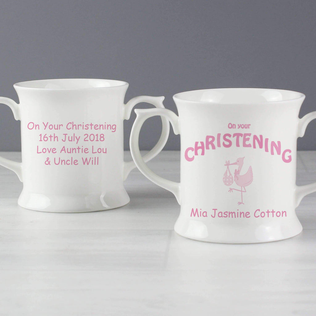 Personalised Stork Pink Christening Loving Mug