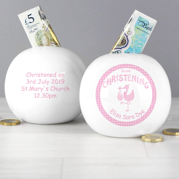 Personalised Stork Pink Christening Money Box