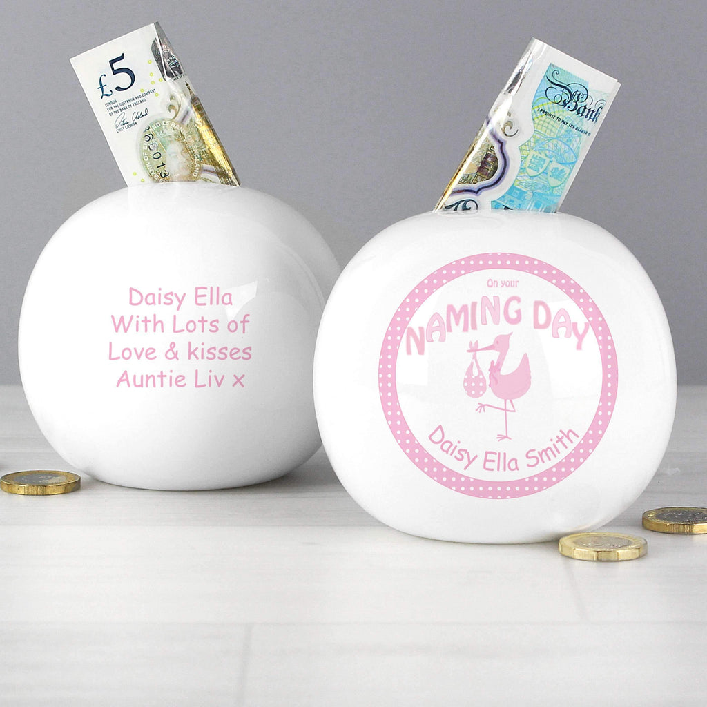 Personalised Stork Pink Naming Money Box Memento