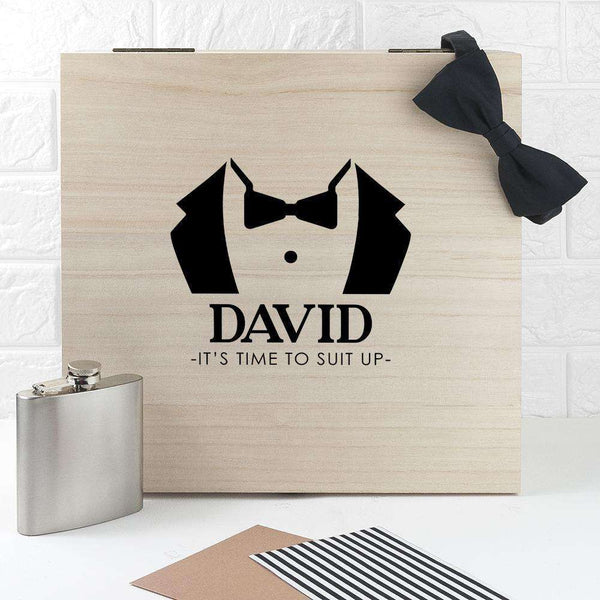 Personalised Suit Up Wedding Box