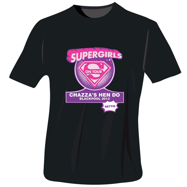 Personalised Supergirls Hen Do T-Shirt - Black - Small