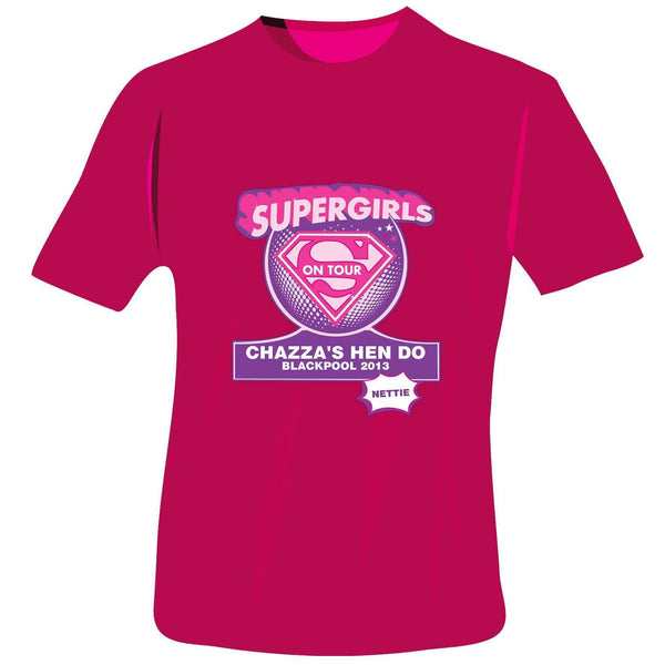 Personalised Supergirls Hen Do T-Shirt - Fuchsia Pink - Small