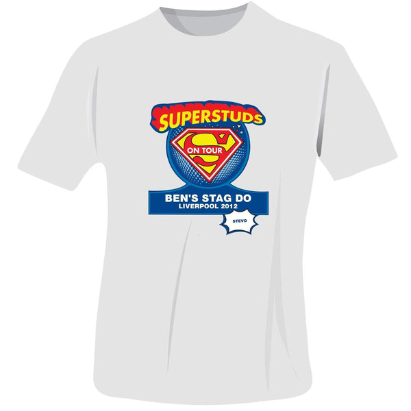 Personalised Superstuds Stag Do T-Shirt - White - Small