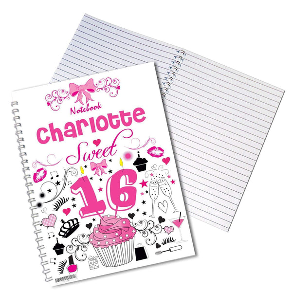 Personalised Sweet 16 A5 Notebook
