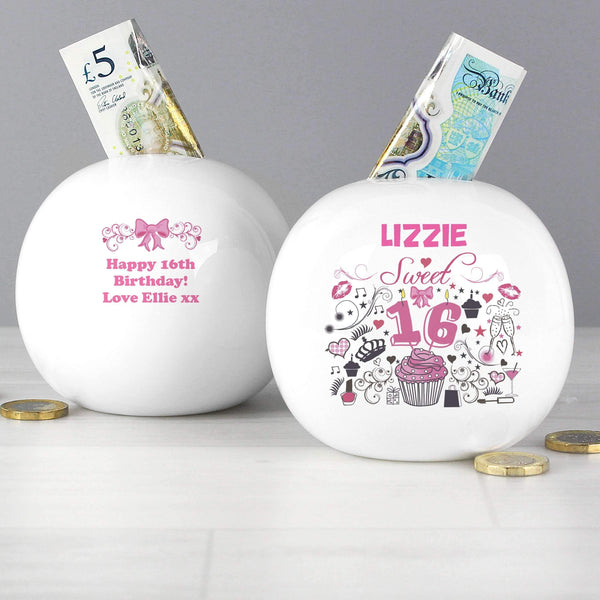 Personalised Sweet 16 Money Box
