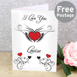 Personalised Tattoo Hearts Card