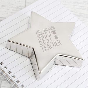 Personalised Teacher Trophy Star Paperweight