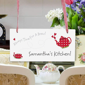 Personalised Teapot Wooden Sign