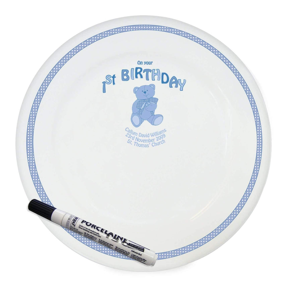 Personalised Teddy Blue 1st Birthday Message Plate Memento