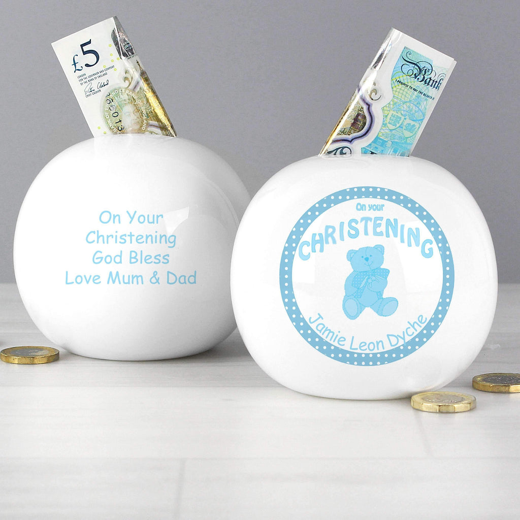 Personalised Teddy Blue Christening Money Box Memento