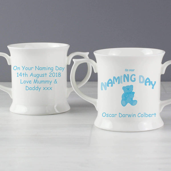 Personalised Teddy Blue Naming Day Loving Mug