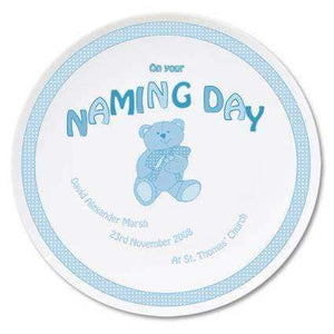 Personalised Teddy Blue Naming Day Plate