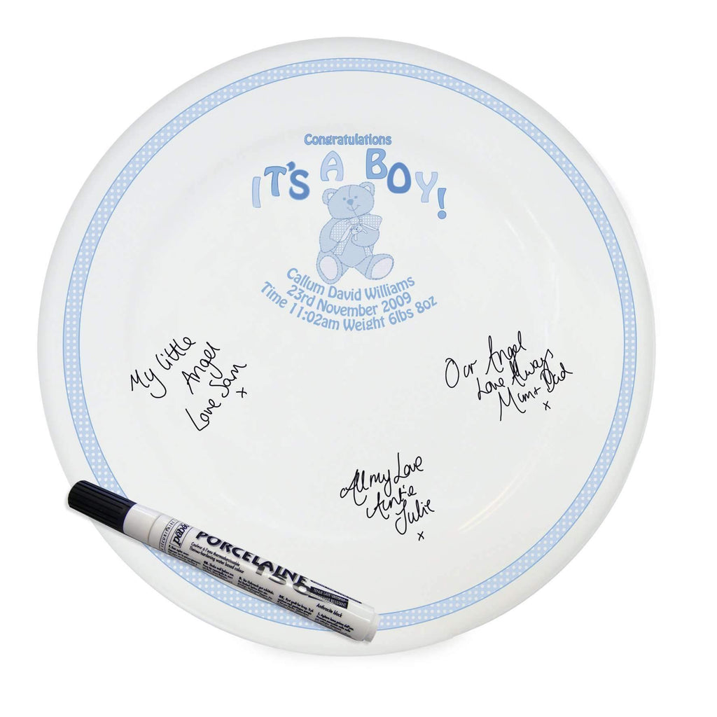 Personalised Teddy It's a Boy Message Plate