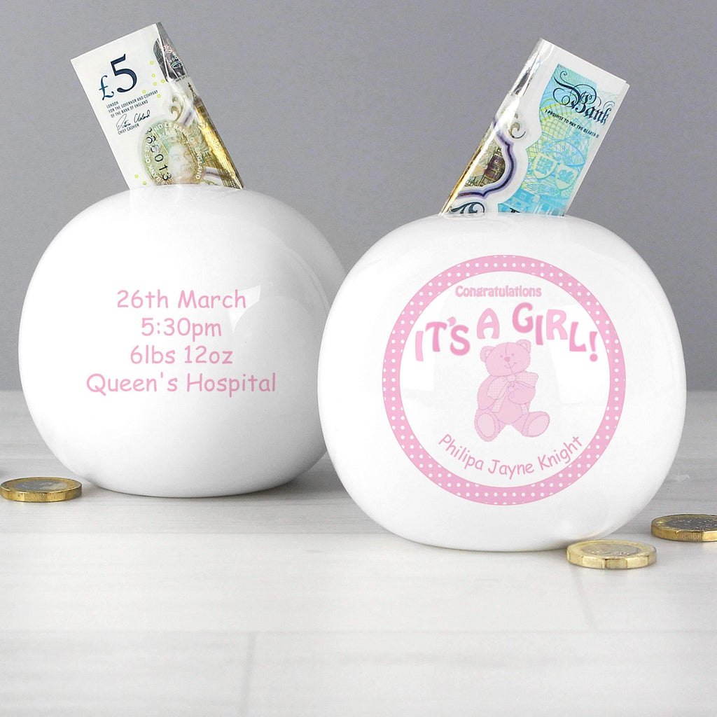 Personalised Teddy Its a Girl Money Box