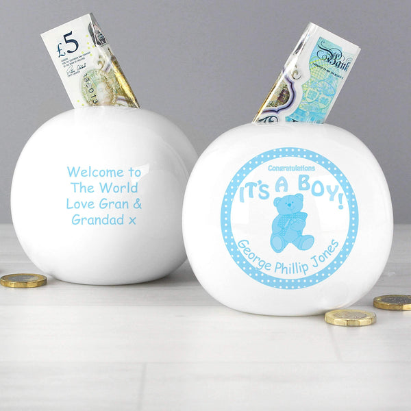 Personalised Teddy Money Box Blue Its a Boy