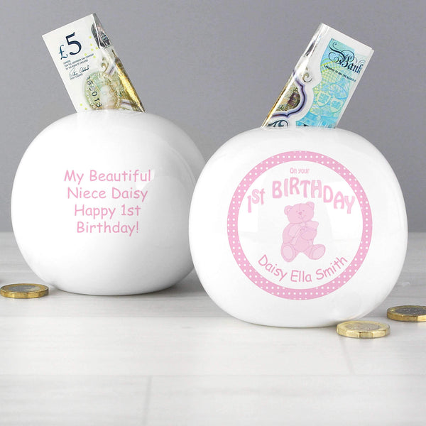 Personalised Teddy Pink 1st Birthday Money Box