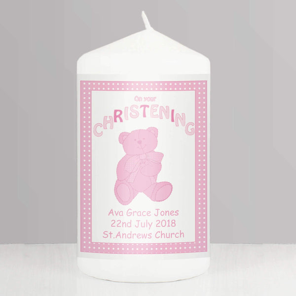Personalised Teddy Pink Christening Candle