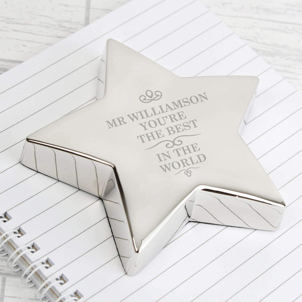 Personalised The Best in the World Star Paperweight