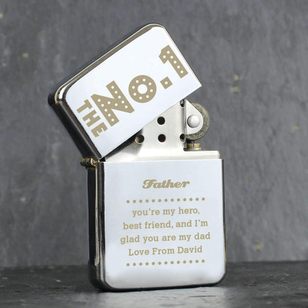 Personalised The No.1 Silver Lighter