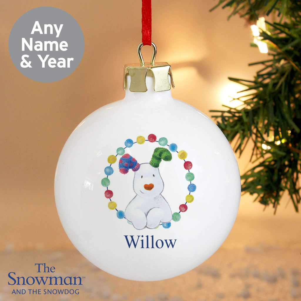 Personalised The Snowdog Bauble Memento