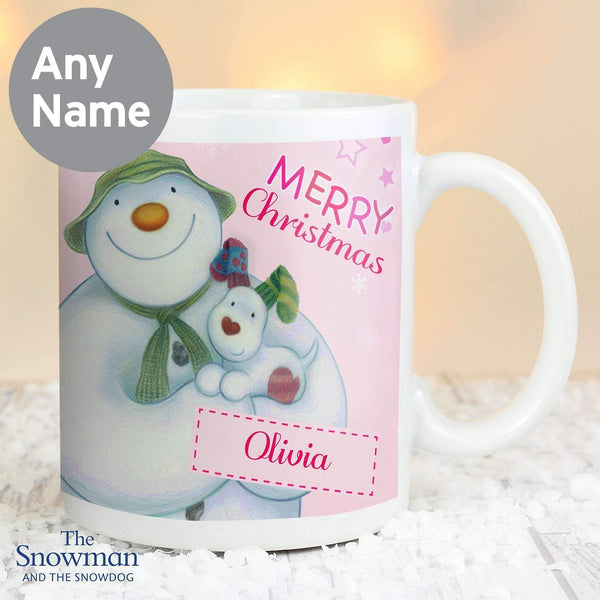 Personalised The Snowman and the Snowdog Pink Mug