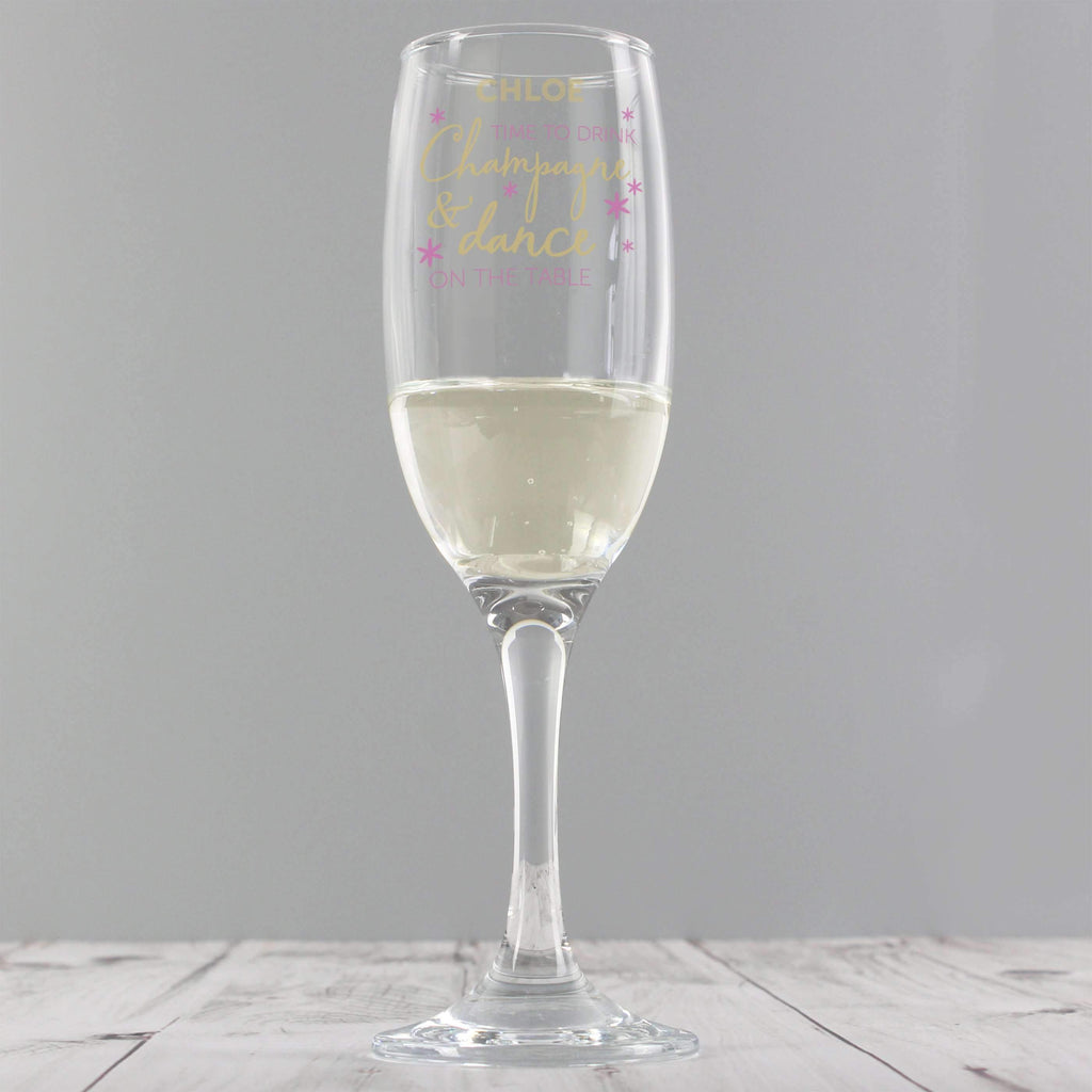 Personalised Time To Drink Glass Flute Memento