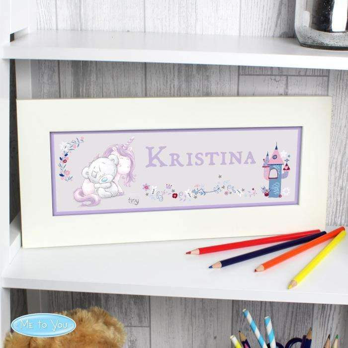 Personalised Tiny Tatty Teddy Unicorn Name Frame Sign Memento