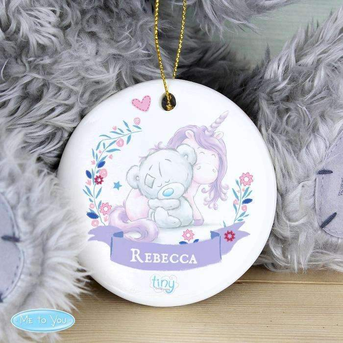Personalised Tiny Tatty Teddy Unicorn Round Decoration