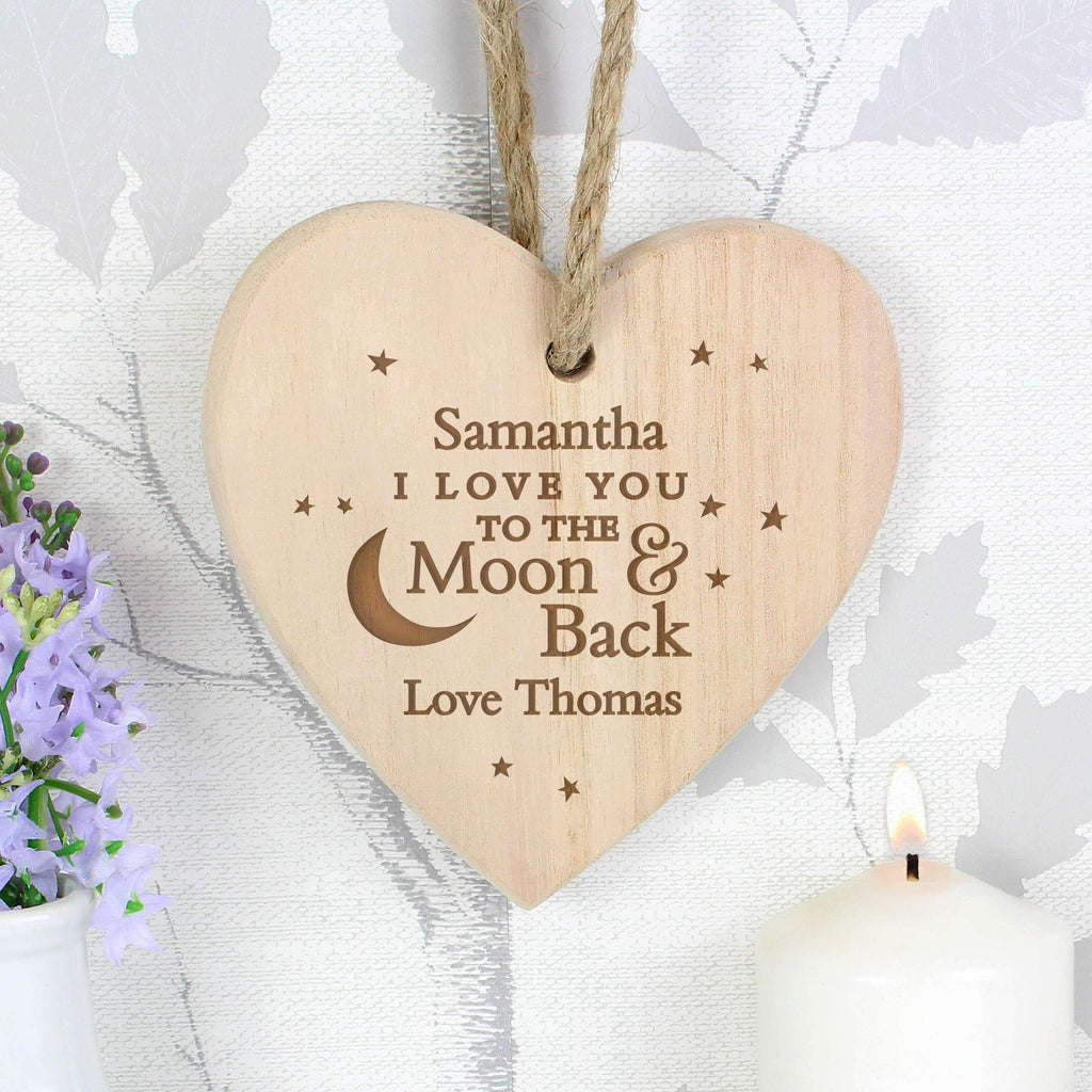Personalised To the Moon and Back... Chunky Wooden Heart Decoration Memento