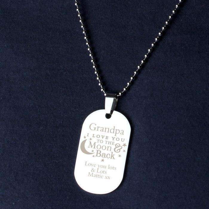 Personalised 'To The Moon & Back...' Stainless Steel Dog Tag Necklace Jewellery Memento