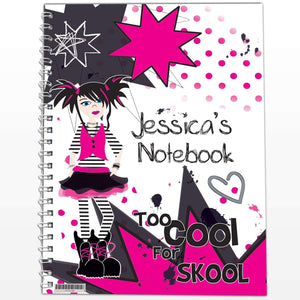 Personalised Too Cool Girl A5 Notebook