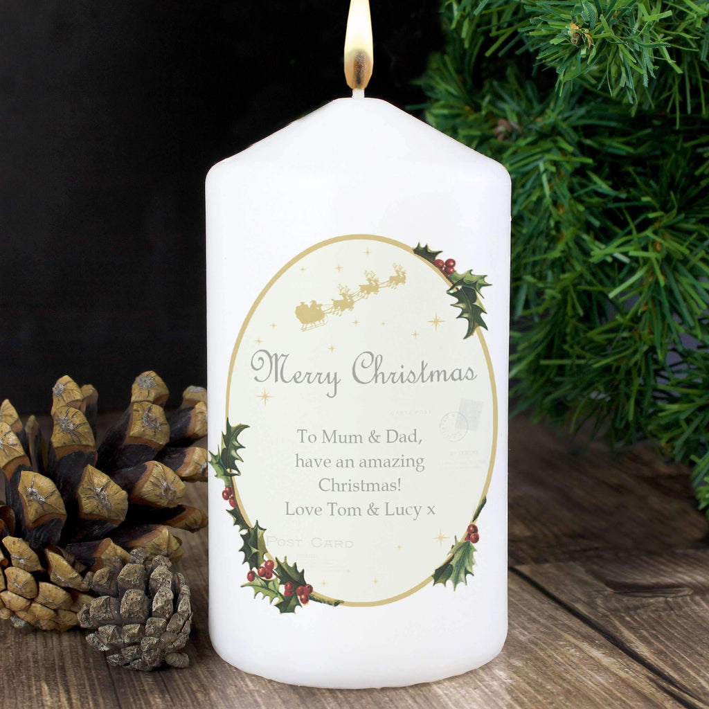 Personalised Traditional Christmas Candle Memento