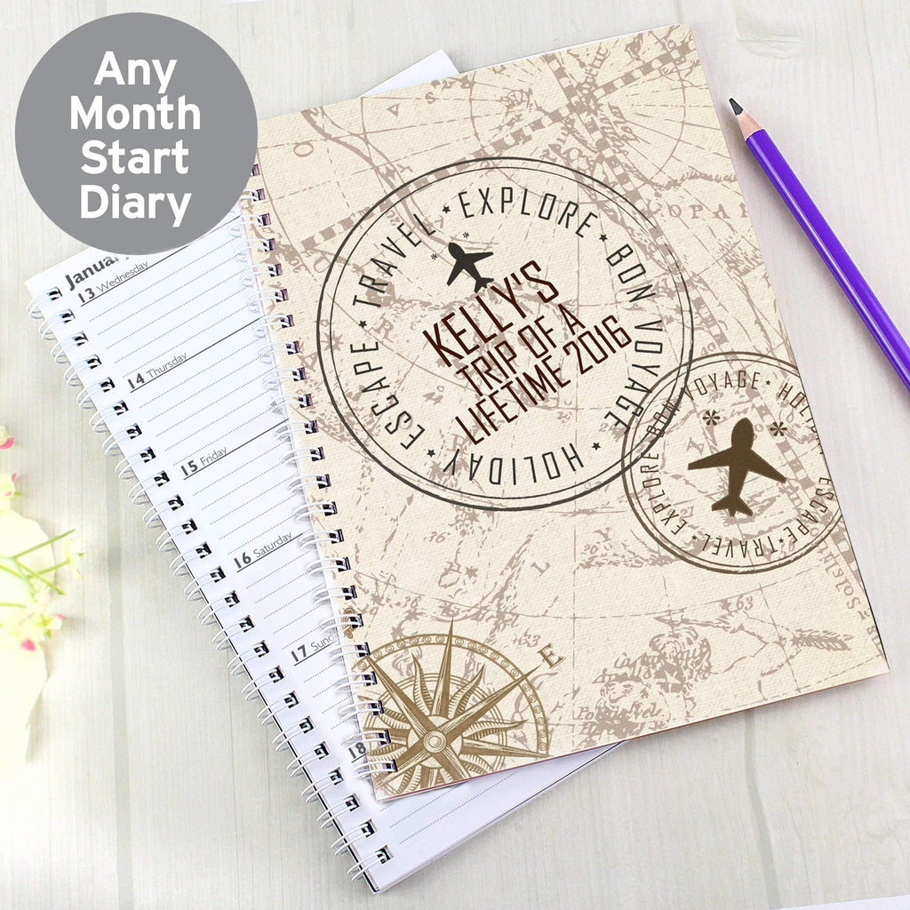 Personalised Travel Stamp A5 Diary Memento