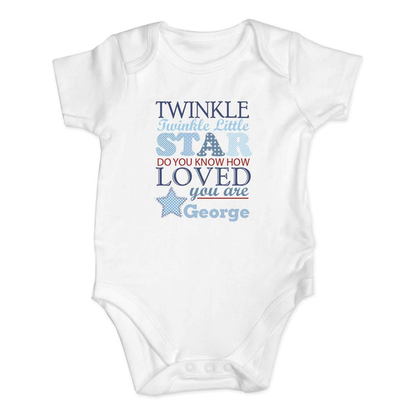 Personalised Twinkle Boys 12-18 Months Baby Vest