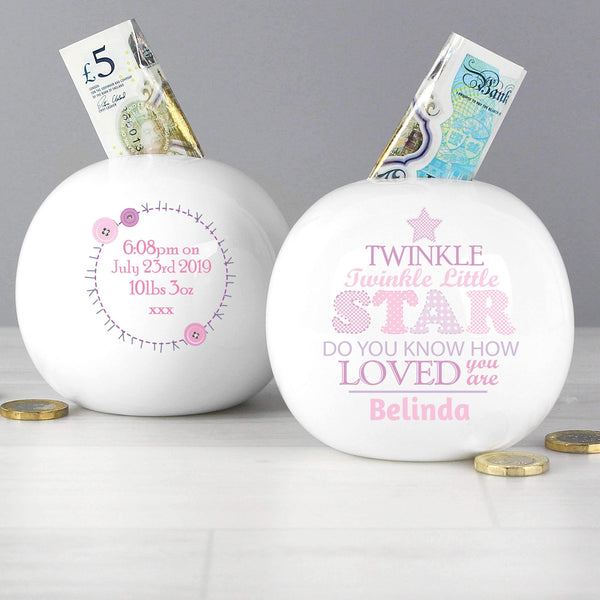 Personalised Twinkle Girls Money Box