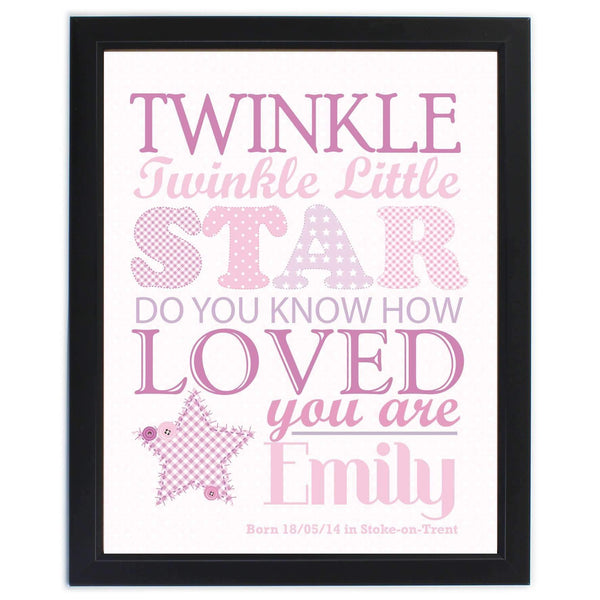 Personalised Twinkle Girls Poster Frame