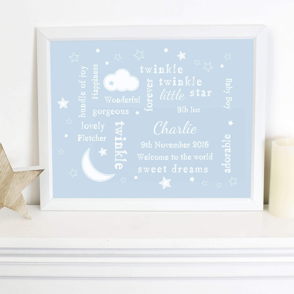 Personalised Twinkle Twinkle Typography Blue Poster Frame Memento