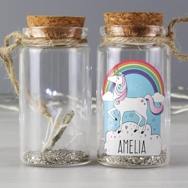 Personalised Unicorn Glitter Message in a Bottle