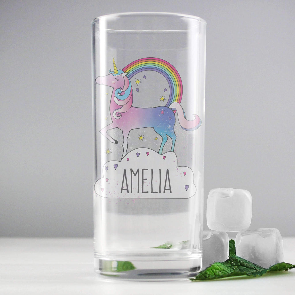Personalised Unicorn Hi Ball Glass Memento