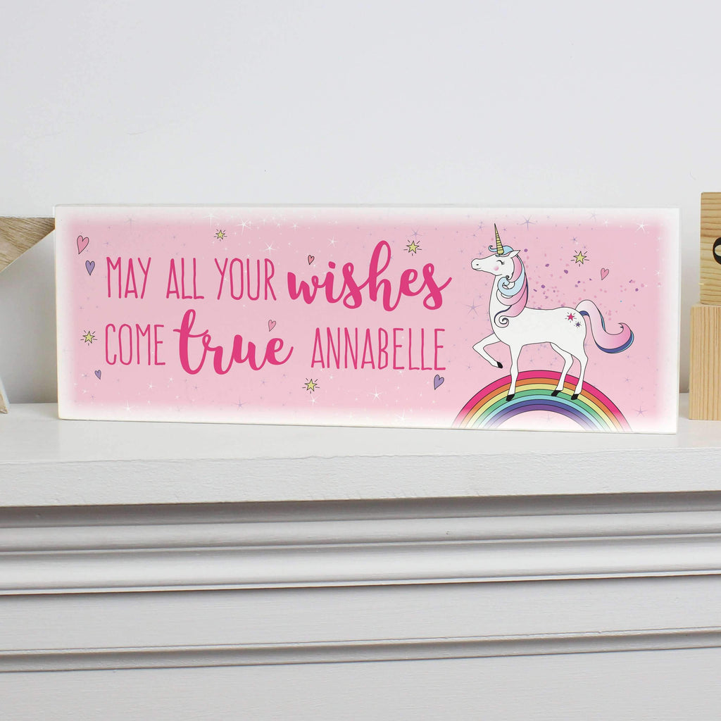 Personalised Unicorn Wooden Block Sign Memento