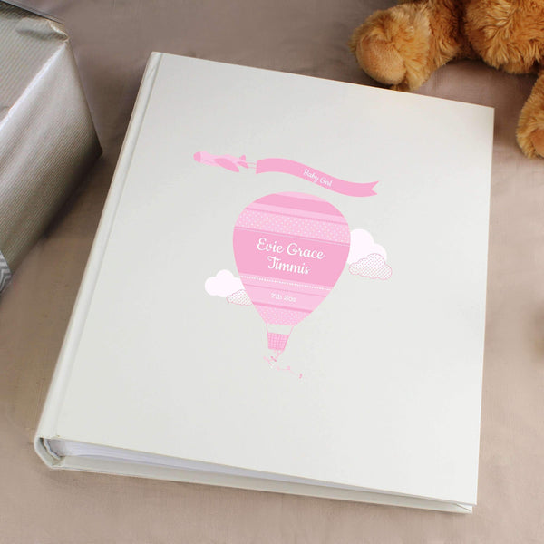 Personalised Up & Away Baby Girl Album with Sleeves
