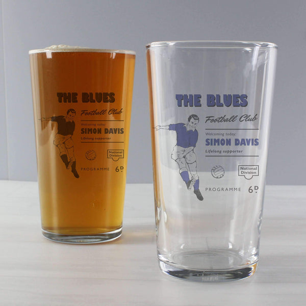 Personalised Vintage Football Blue Supporter's Pint Glass
