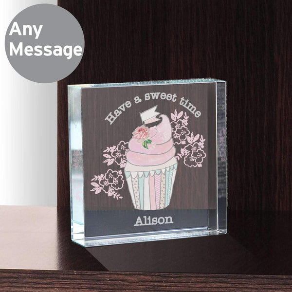 Personalised Vintage Pastel Cupcake Large Crystal Token
